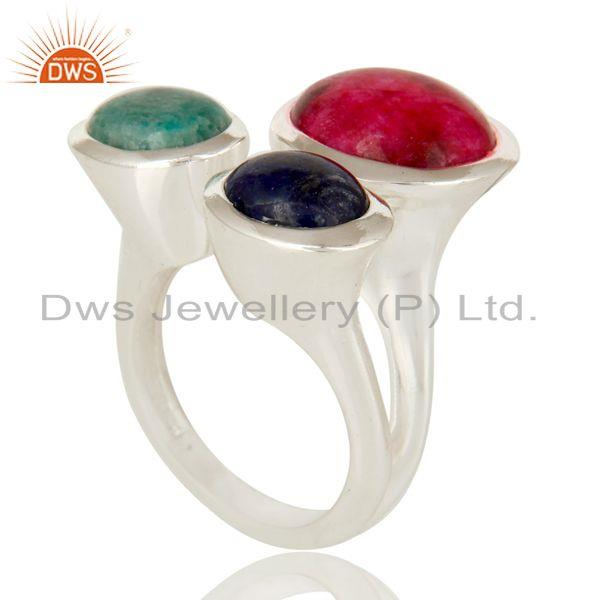 Exporter Emerald, Ruby And Sapphire Gemstone 925 Sterling Silver Ring