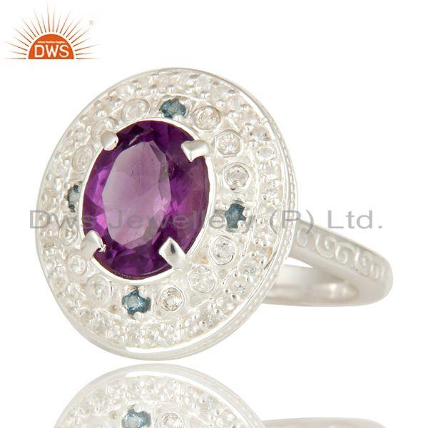 Exporter 925 Sterling Silver Amethyst And Blue Topaz Statement Ring With White Topaz