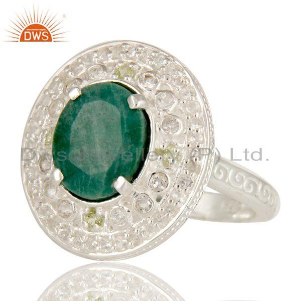 Exporter Green Corundum And Peridot Sterling Silver Statement Ring With White Topaz