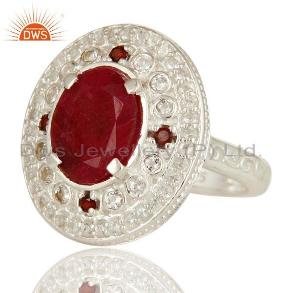 Exporter Ruby Red Corundum, Garnet And White Topaz Sterling Silver Cocktail Ring