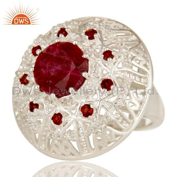 Exporter 925 Sterling Silver Ruby And Garnet Gemstone Cocktail Ring With White Topaz