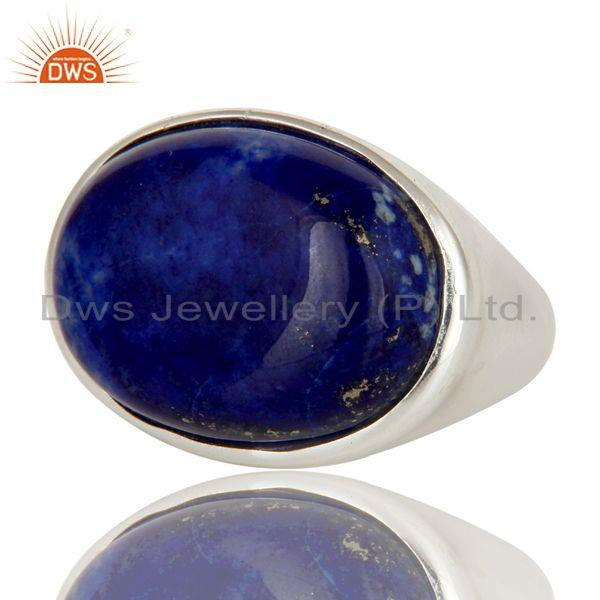 Exporter 925 Sterling Silver Natural Lapis Lazuli Gemstone Dome Ring