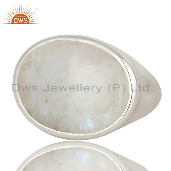 Exporter Natural Rainbow Moonstone Gemstone Sterling Silver Dome Ring