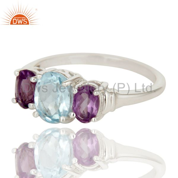 Exporter 925 Sterling Silver Amethyst And Blue Topaz Gemstone Cluster Ring