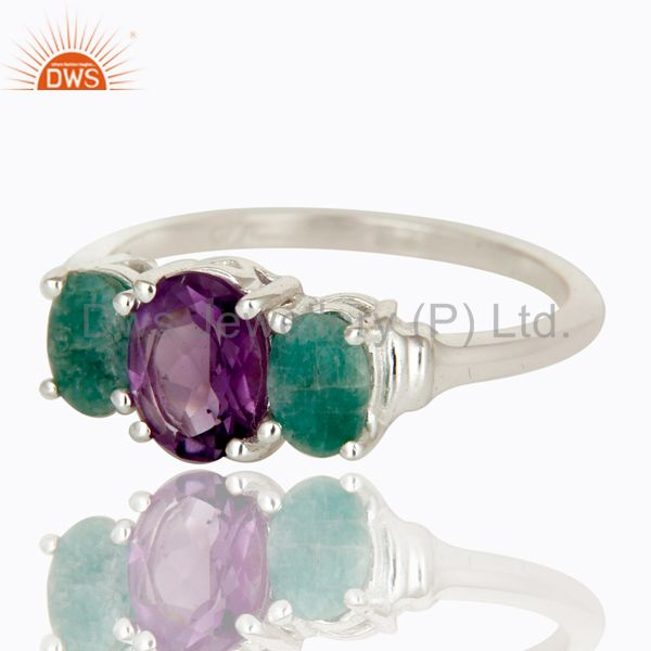 Exporter 925 Sterling Silver Amethyst And Emerald Gemstone Prong Set Ring