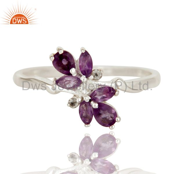 Exporter Amethyst and White Topaz Solid Sterling Silver Statement Ring Gemstone Ring