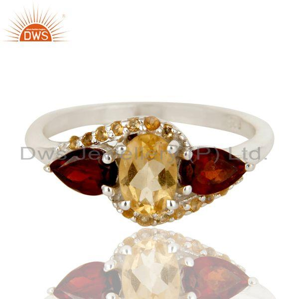 Exporter Solid Sterling Silver Garnet and Citrine Statement Ring Fine Gemstone Ring