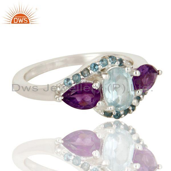 Exporter Amethyst and Blue Topaz Solid Sterling Silver Statement Ring Fine Gemstone Ring