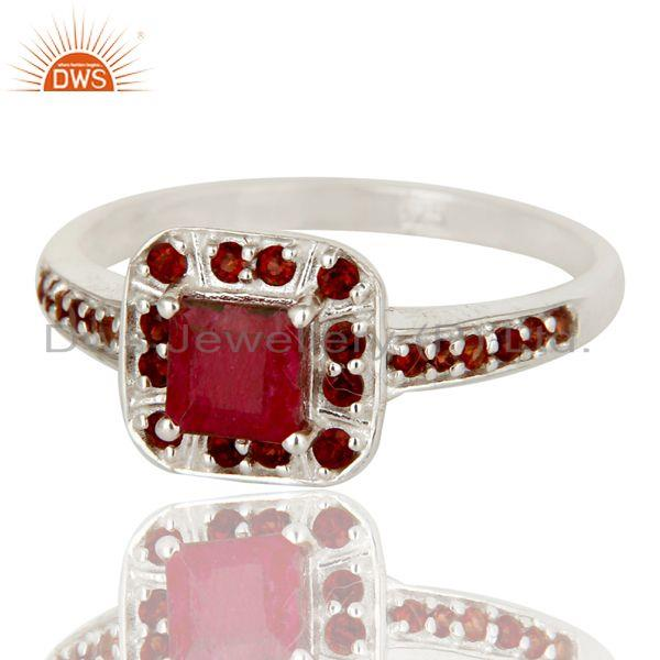 Exporter 925 Sterling Silver Ruby Natural Corundum and Garnet Gemstone Halo Style Ring