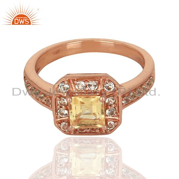 Exporter 925 Silver Rose Gold Plated Citrine Gemstone Ring