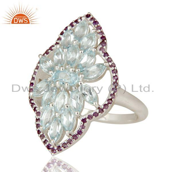 Exporter 925 Sterling Silver Amethyst and Blue Topaz Gemstone Statement Ring