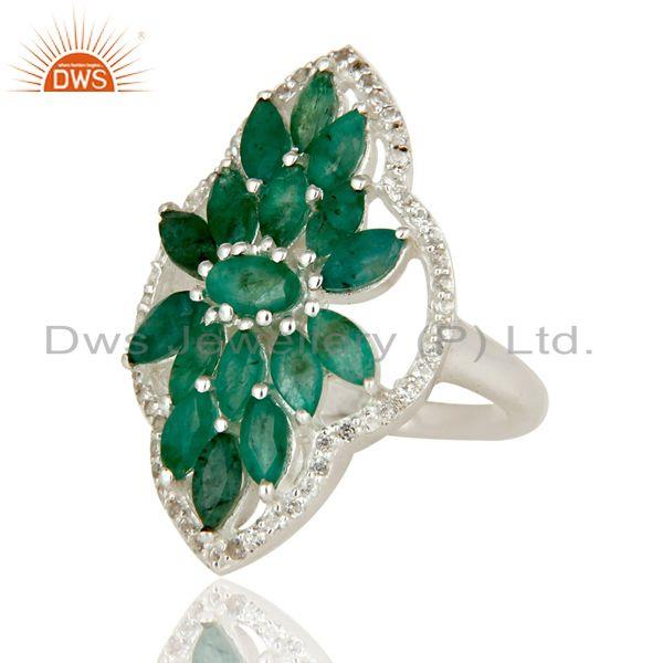 Exporter 925 Sterling Silver Emerald And White Topaz Gemstone Statement Ring