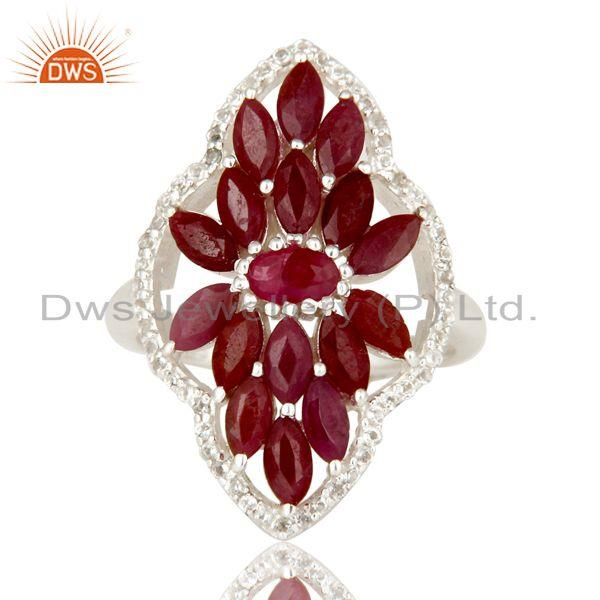 Exporter Natural Ruby and White Topaz Sterling Silver Statement Ring