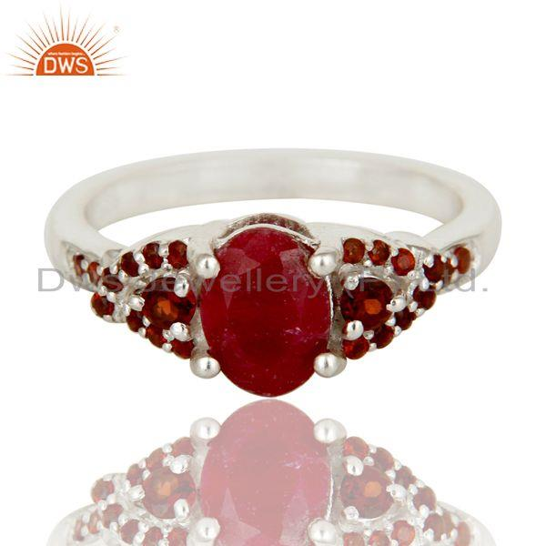 Exporter Natural Ruby and Garnet Sterling Silver Gemstone Halo Statement Ring