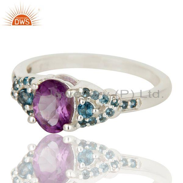 Exporter Natural Amethyst And Blue Topaz Sterling Silver Gemstone Halo Statement Ring