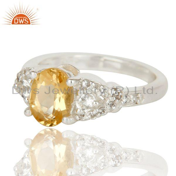 Exporter 925 Sterling Silver Citrine And White Topaz Gemstone Statement Ring