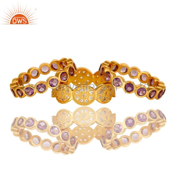 Exporter 14K Yellow Gold Plated Amethyst And White Topaz Eternity Band Ring 3 Pcs Set
