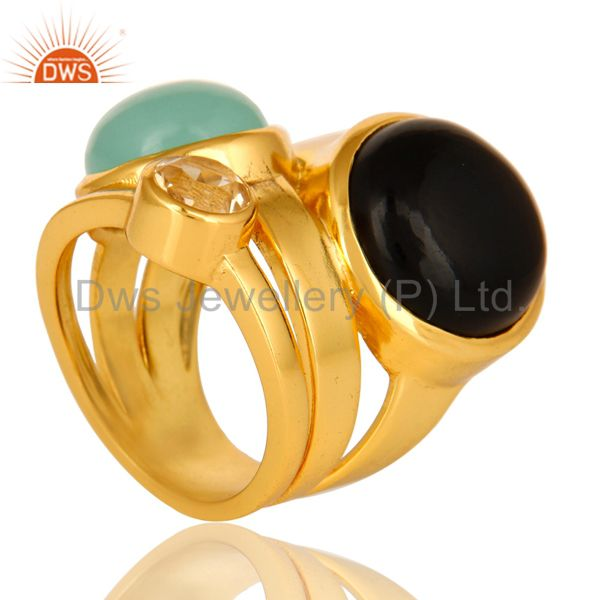Exporter High Polish 14K Yellow Gold Plated Brass Black Onyx And Blue Chalcedony Ring
