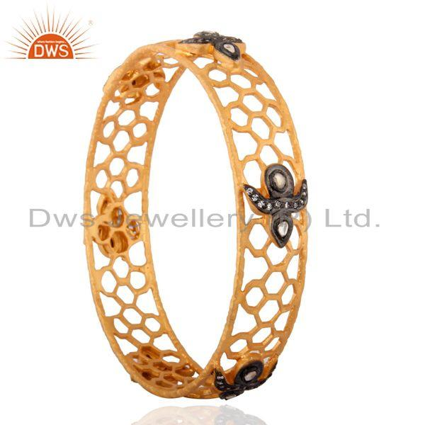 Supplier of 18k yellow gold plated 925 silver cubic zirconia womens bangle