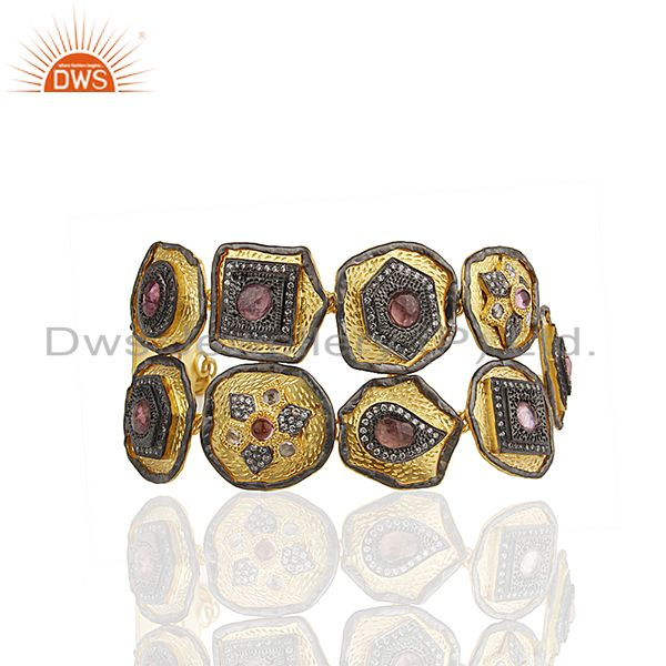 Exporter Pink Tourmaline Gemstone Solid 925 Silver Gold Plated Bracelet Manufacturers