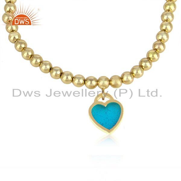 Gold on silver 925 bead bracelet with blue enamel heart charm
