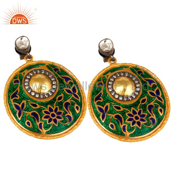 Exporter 22K Yellow Gold Plated Sterling Silver CZ Polki And Enamel Design Dangle Earring