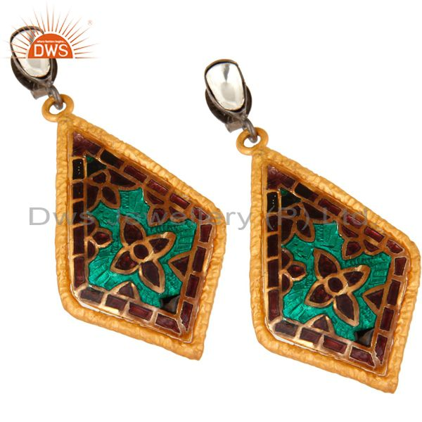 Exporter 22K Yellow Gold Plated Sterling Silver CZ And Enamel Fashion Dangle Earrings