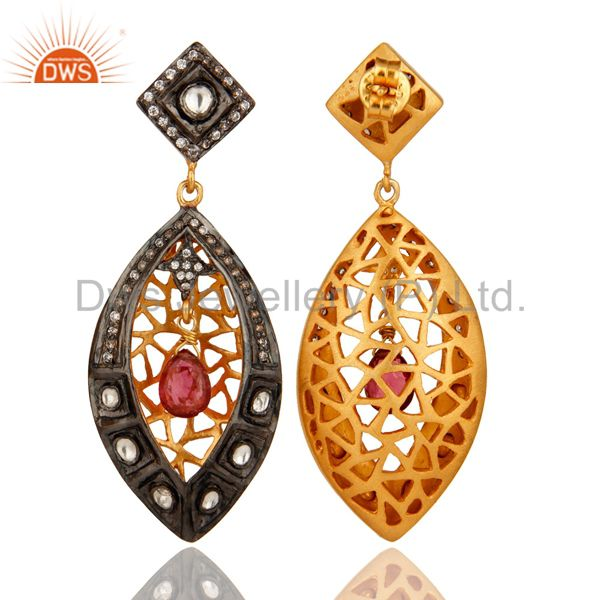 Exporter Tourmaline Gemstone Studded Gold Plated Sterling Silver Victorian Style Earrings