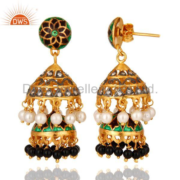 Exporter Gold Plated Silver Kundan Pearl & Onyx Meena Work Traditional Jhumka Earrings