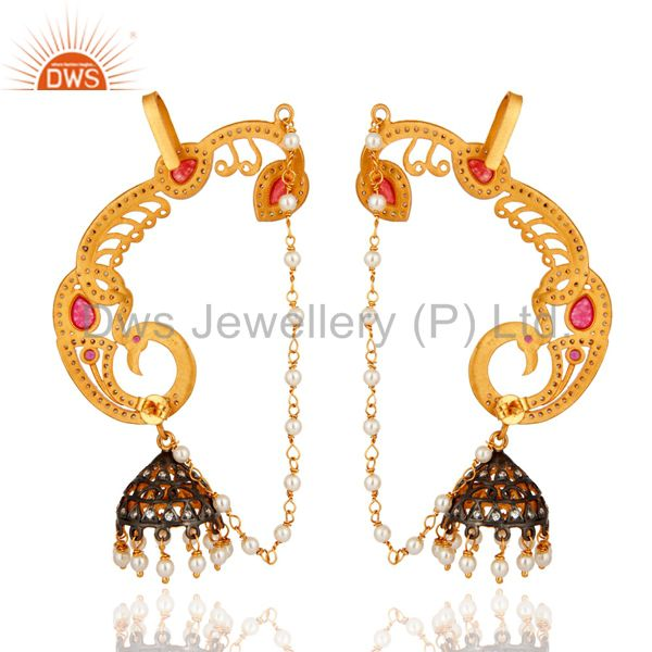 Exporter 22K Yellow Gold Plated Silver Red Aventurine And CZ Peacock Ear Cuff Earrings