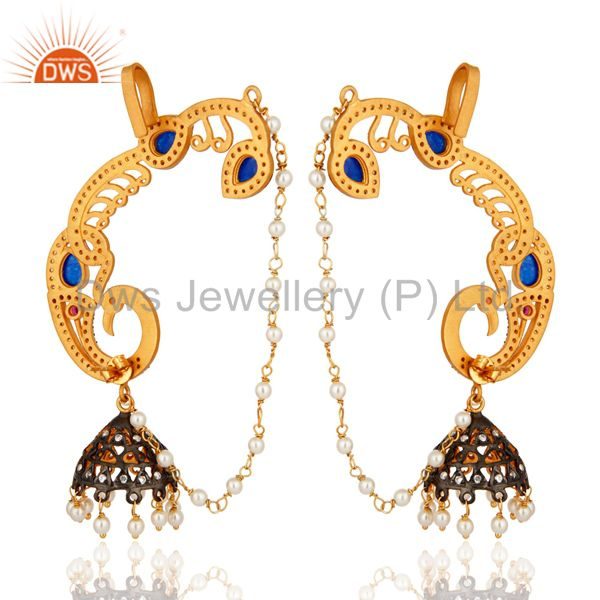 Exporter 22K Yellow Gold Plated Silver Blue Aventurine And CZ Peacock Ear Cuff Earrings