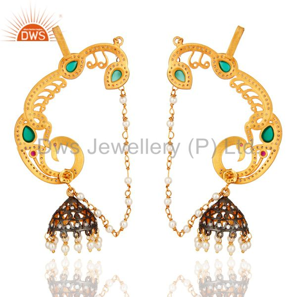 Exporter 18K Yellow Gold Plated Green Onyx And CZ Designer Fashion Ear Cuff Earrings