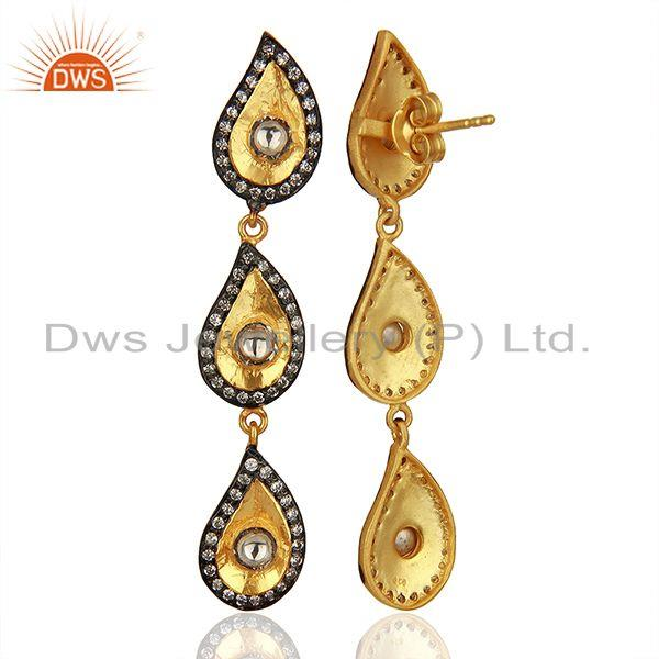 Exporter 22K Gold Plated Sterling Silver Crystal CZ Polki Victorian Style Dangle Earrings