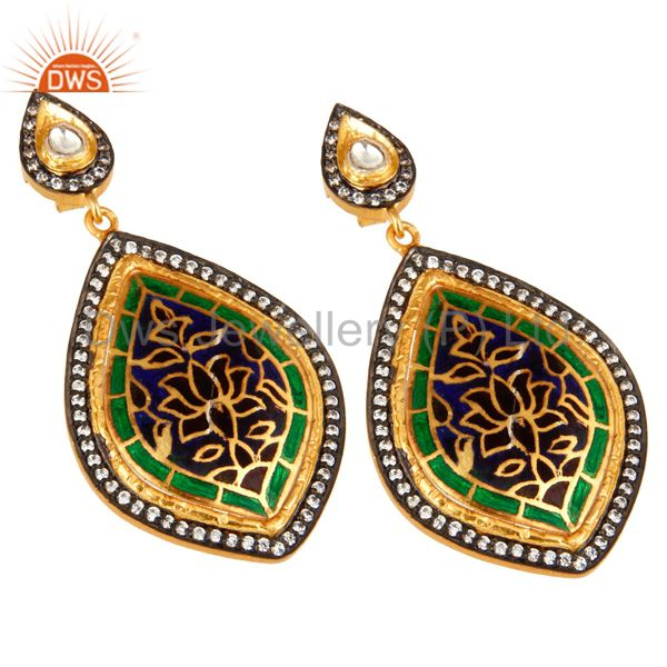 Exporter 18K Yellow Gold Plated Sterling Silver CZ And Enamel Design Dangle Earrings