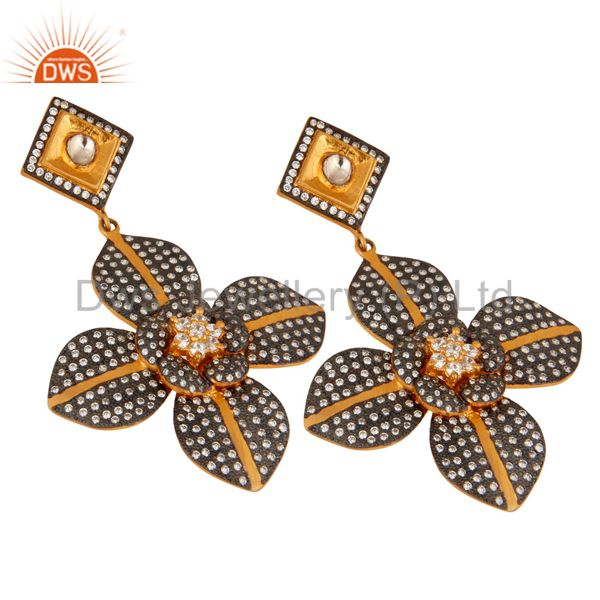 Exporter 925 Sterling Silver Yellow Gold Plated CZ Flower Design Bridal Fashion Earrings