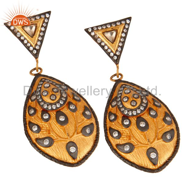Exporter 18K Gold Plated 925 Sterling Silver White Cubic Zirconia Modern Fashion Earring