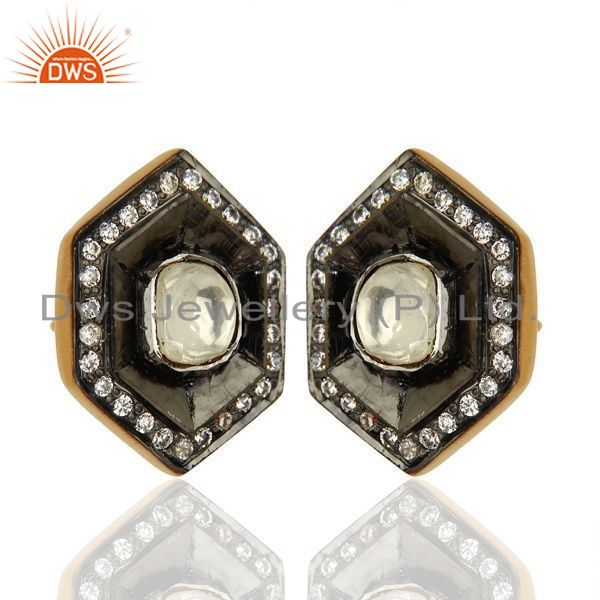 Exporter Oxidized Sterling Silver CZ Crystal Polki Antique Look Ladies Stud Earrings
