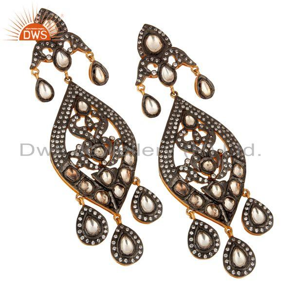Exporter 925 Silver Crystal Polki & Zircon Studded Victorian Style Chandelier Earrings