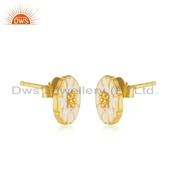 Exporter 22K Yellow Gold Plated Sterling Silver White Enamel Designer Stud Earrings