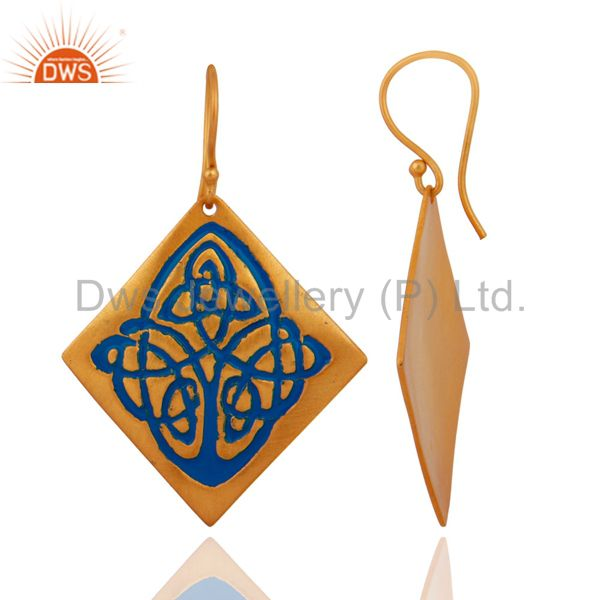 Exporter Handmade 18k Yellow Gold Plated Over Brass Blue Enamel Designer Dangle Earrings