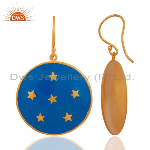 Exporter 18K Yellow Gold Plated Blue Enamel Star Design Ladies Fashion Hook Brass Earring