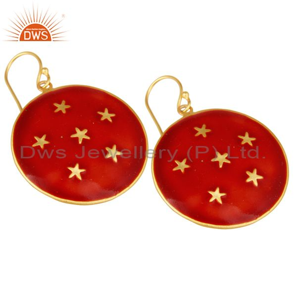 Exporter 18K Yellow Gold Plated Red Enamel Star Design Ladies Fashion Hook Brass Earrings