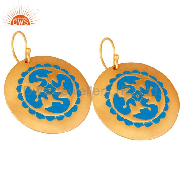 Exporter 22-Karat Yellow Gold Plated Over Brass Blue Enamel Designer Dangle Earrings