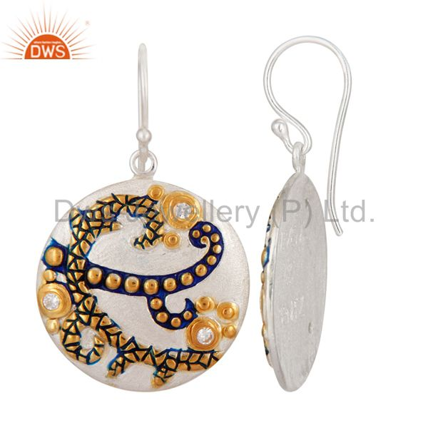 Exporter CZ Gemstone Dangle 14K Yellow Gold Plated 925 Sterling Silver Earrings Jewelry
