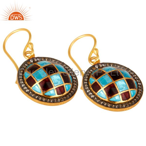 Exporter 18K Yellow Gold Plated Sterling Silver CZ And Enamel Designer Disc Earrings