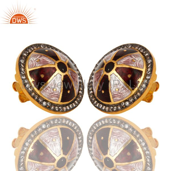 Exporter 18K Yellow Gold Plated Sterling Silver CZ And Enamel Work Womens Stud Earrings