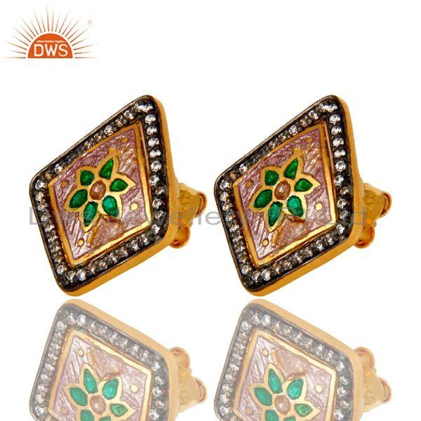 Exporter 22K Yellow Gold Plated Sterling Silver CZ And Enamel Designer Stud Earrings