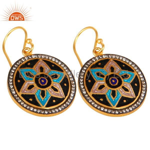 Exporter 18K Gold Plated Sterling Silver Enamel Design Disc Dangle Earrings With CZ