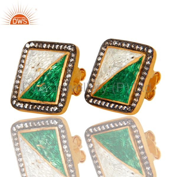 Exporter 18K Yellow Gold Plated Sterling Silver CZ And Enamel Design Cushion Stud Earring