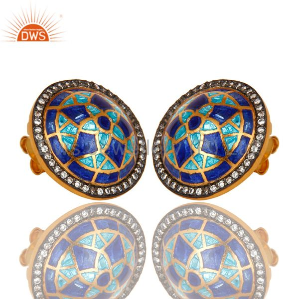 Exporter 18K Gold Plated Sterling Silver CZ And Blue Enamel Design Round Stud Earrings